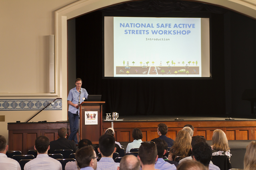Day 1: Craig Wooldridge, A/ Executive Director Integrated Transport Planning, Department of Transport WA, provides background to the Perth Safe Active Streets Program.