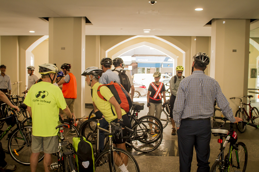 Day 1: Attendees get ready to visit Perth's Bike Boulevards.