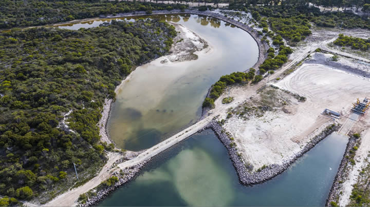 Bandy Creek Weir Post Flood Event – View to North (aerial photography by Jaimen Hudson)