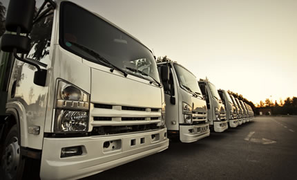A fleet of commercial vehicles