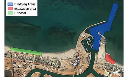 Exmouth Boat Harbour project dredging area