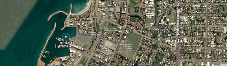Image of GPS validation marker location on map of Geraldton