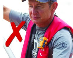 Your PLB must not restrict the inflation of your lifejacket