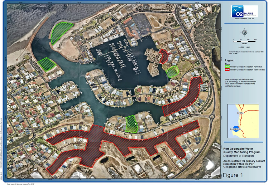 Areas in the artificial waterways where primary contact is permitted, not permitted and not recommended.