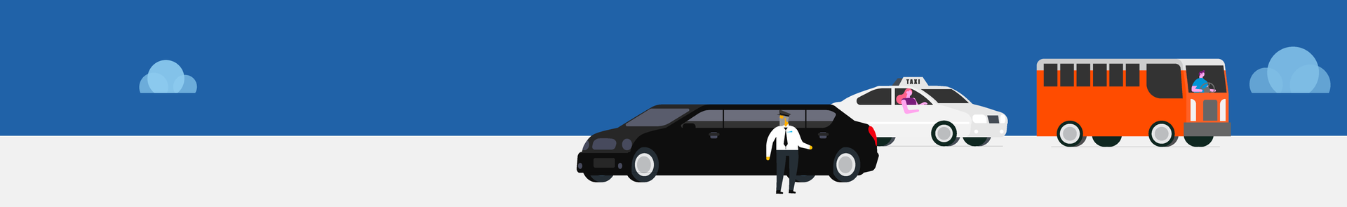 Graphic of school bus driver, limo driver and taxi driver.